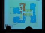 Looking at the first floor.  Orange is staff area, i.e., offices, storage, etc.  Yellow is common areas such as dining rooms.  Blue is dwelling units