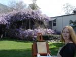 Sierra Madre artist Gail Radice, sets up to paint