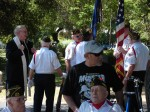 Father Pat arrives and chats with some of the veterans
