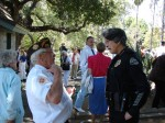 WWII vet Ted Evans chats with Chief Marilyn Diaz