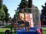 Lisa Brandley from Lucky Baldwin's sits in at the dunk tank
