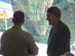 Mayor Buchanan chats with team member