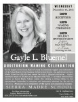 School Auditorium Renamed for Bluemel, Celebration Wednesday, 12/14