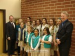 St. Rita Girl Scout Troop Color Guards for Troops 8471 and 13,731 pose with Mayor Pro Tem Josh Moran and Mayor John Buchanan