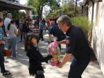SMVFA President Todd Conrad gives a special basket to a youngster who retrieved a golden egg.