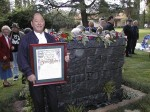 Lew Watanabe at the dedication of his Weeping Wall Memorial  Copyright 1999 The Coburn Group