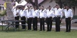 VFW Post 3208 color guard salutes during ceremony, Copyright 1999 The Coburn Group