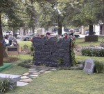 The Weeping Wall Memorial, dedicated to Sierra Madre's fallen veterans.  Copyright 1999 The Coburn Group