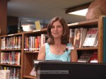 Library archivist Debbie Henderson introduces the evening's featured speaker, Jim Costantian
