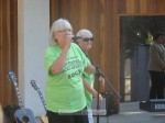 Amy Putnam and Jacquie Pergola of the Senior Commission introduce the band