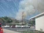 Looking northeast from Valencia and Foothill.  Time to clean the windshield.