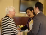 Congresswoman Judy Chu greets Joan (how did the left half of my camera move, but not the right?)