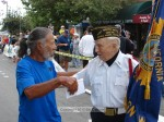 After the race start, Lono Tyson chats with Bud Switzer (Mr. Pumpkin) of the VFW.  That's 169 years of history there, folks.