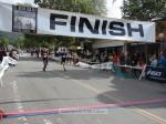 Michael Winslow, Yucaipa CA, 1:29:30 in maroon and Paul Schulten, Monrovia CA, 1:29:33