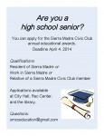 Sierra Madre Civic Club Education Awards Applications Now Available
