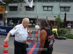 VFW Honor Guard member Bud Switzer chats with last year's Race Starter, Lono Tyson