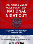 Sierra Madre Police Department To Host 2014 National Night Out Tuesday