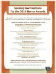 Deadline for Honors Awards Nominations Thursday, 9/18/14