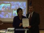 Commander Loera accepts commendation from Congresswoman Chu